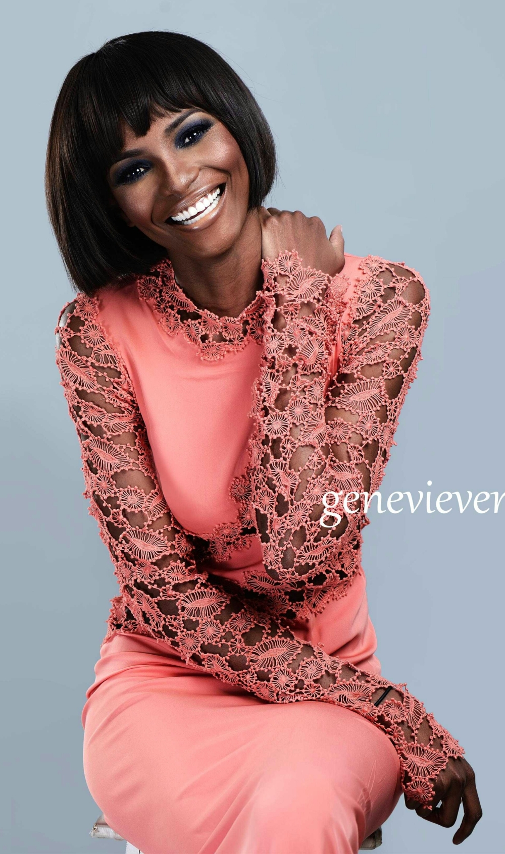 Agbani Darego beaming